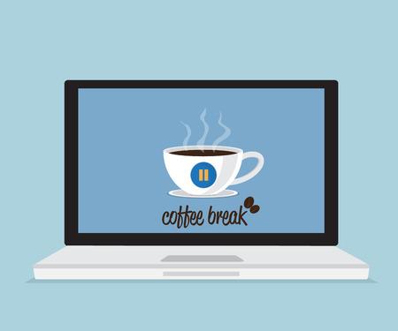 break in: coffee break with coffee cup in laptop vector illustration