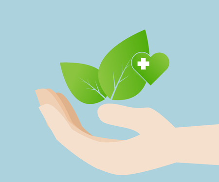 healing hands: leaf in hand with heart for love and save environment, eco friendly, vector illustration