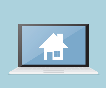 apartment search: house, real estate on laptop screen, online real estate business vector illustration
