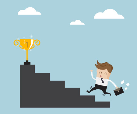 up stair: businessman running up stair for success business success concept vector illustration