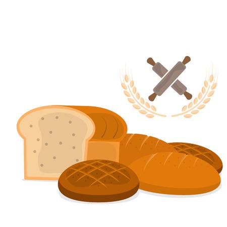 bagels: set of bakery bread illustration Stock Photo