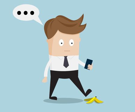 businessman walking: businessman walking and talking with smartphone, slipping on a banana peel illustration