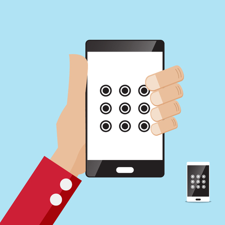 smartphone hand: security locked screen smartphone in hand illustration