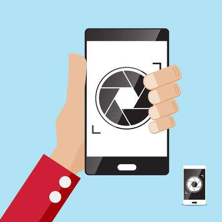 smartphone hand: camera application icon smartphone in hand illustration