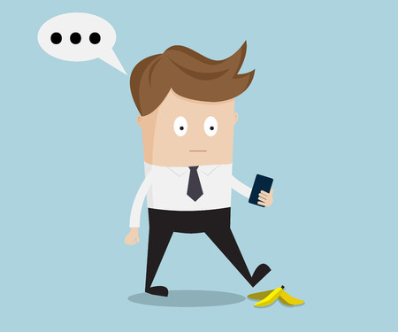 peel: businessman walking and talking with smartphone, slipping on a banana peel illustration