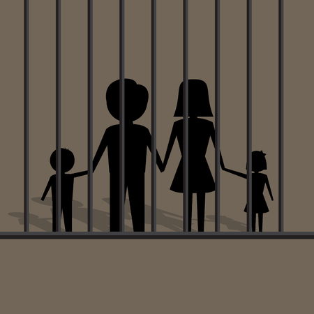 unhappy family: silhouette of family in jail illustration Illustration
