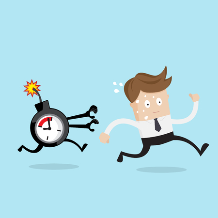 cartoon bomb: businessman running from time bomb, business concept cartoon vector illustration Stock Photo