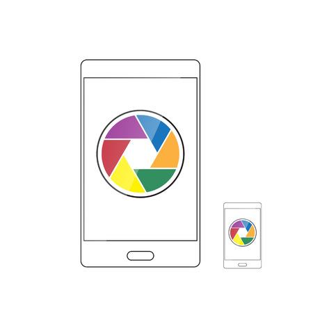 camera shutter: camera shutter icon in smartphone vector illustration Illustration