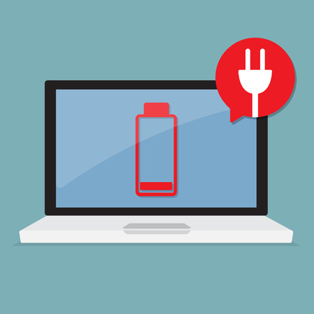 low battery icon alert with laptop vector illustration 矢量图像