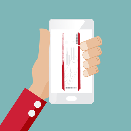 smartphone hand: train ticket online with smartphone in hand vector illustration