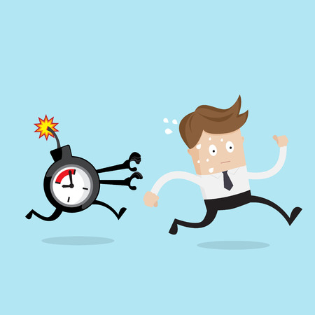 businessman running from time bomb, business concept cartoon vector illustration Vettoriali