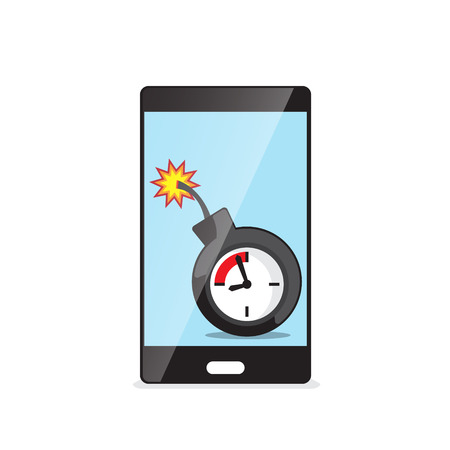 threat: time bomb in smartphone vector illustration Illustration