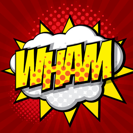 wham pop art, comic book background vector illustration Illustration