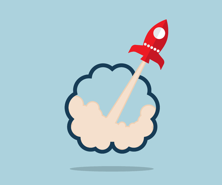 launcher: rocket launcher from brain start up concept vector illustration