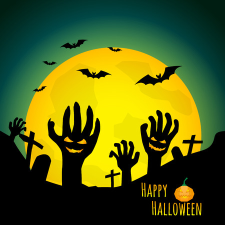 abstract halloween background zombies hand in graveyard vector