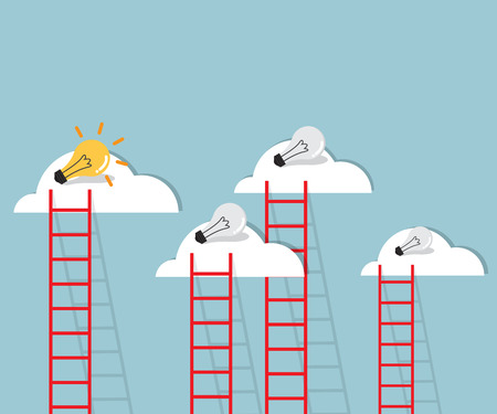 ladder to cloud with bulb idea  flat design vector illustration
