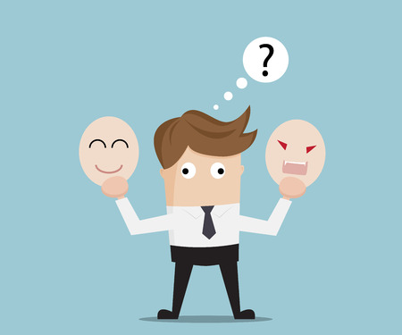 negative: Businessman Confused for Select Angry or Happy Mask, Business Concept Cartoon Vector Illustration Illustration