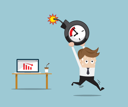 Businessman Running with Time Bomb From Red Down Graph on Laptop, Business Concept Vector Illustration