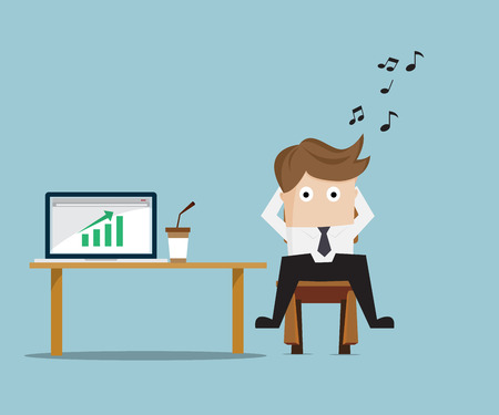 Businessman Relaxing with Up Green Graph on Laptop, Business Concept Cartoon Vector Illustration