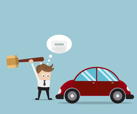 Businessman Breaking His Car with Big Hammer For Money From Insurance, Business Concept Cartoon Vector Illustration