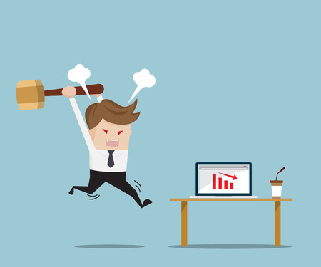 Businessman Angry and Destroy his Laptop with Red Down Graph, Business Concept Cartoon Vector Illustration