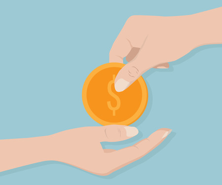 give money: Hand Give Money Coin Vector Illustration