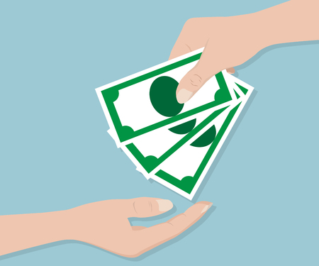give: Hand Give Money, Business Concept Vector Illustration Stock Photo