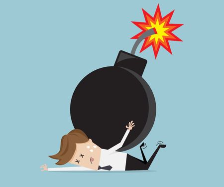 businessman with bomb over his back, business concept vector illustration
