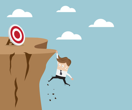 try: businessman hold on the cliff for target, business concept vector illustration Illustration