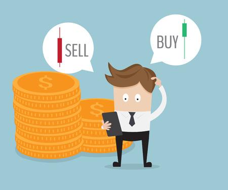 homme d'affaires confus pour sélectionner vendre ou acheter forex illustration vectorielle