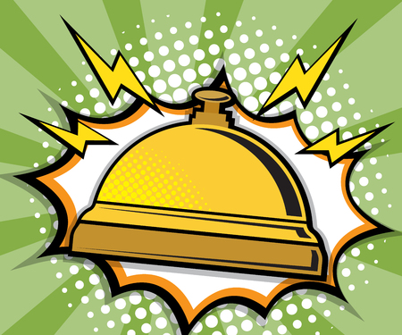 Abstract hotel services bell pop art, comic book background vector illustration