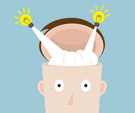 bulb idea flying from head vector illustration