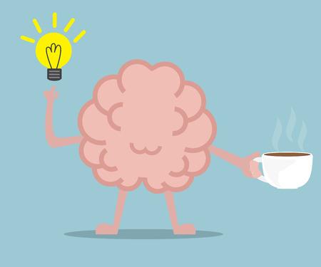 human brain drinking coffee for fresh idea vector illustration