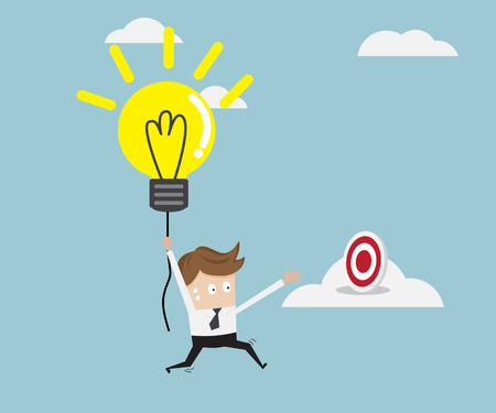 businessman flying with bulb idea to target on cloud business concept vector illustration Stock Photo