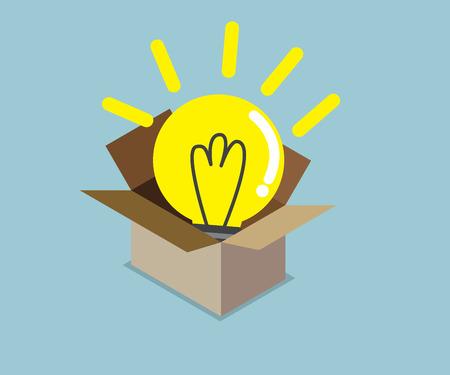 abstract light bulb idea in box vector illustration
