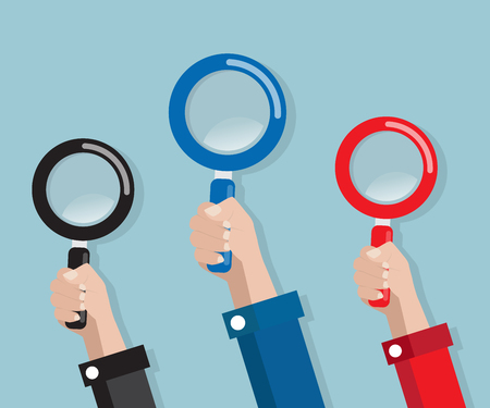 hand with magnifying glass vector illustration