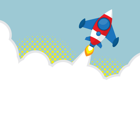 launcher: rocket launcher with halftone background vector illustration