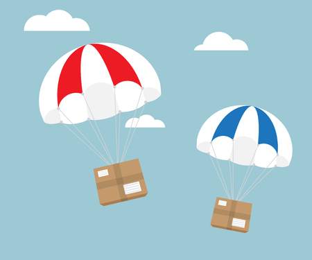 Package flying with parachute, e-commerce shipping delivery concept vector illustration Illustration