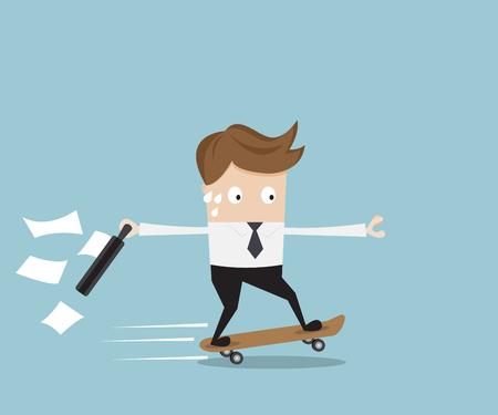 Businessman hurry on skateboard vector illustration Vettoriali