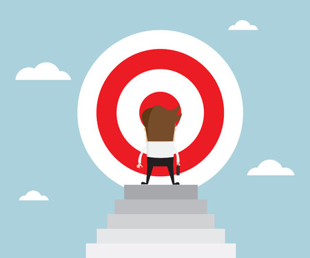 Businessman standing in front of big target on top of stairs business concept vector illustration Illustration