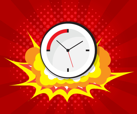 Abstract boom with clock comic book, pop art background vector illustration