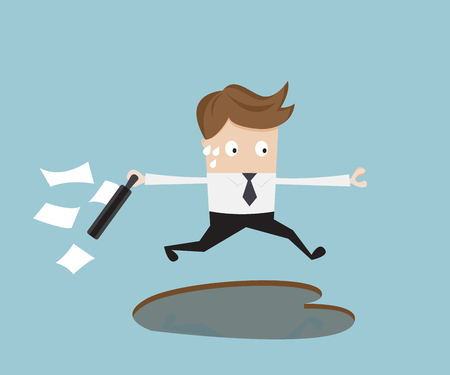 Businessman jumping over pothole, business concept vector illustration Illustration