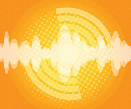 abstract sound wave with halftone background vector illustration