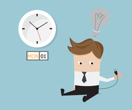 unplug: businessman sitting tired and no have idea on monday vector illustration