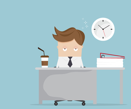 businessman falling asleep at desk in office vector illustration Illustration