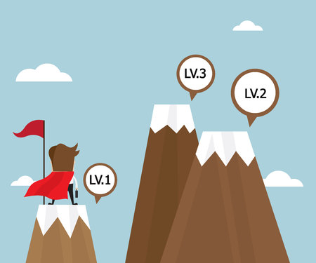 businessman success on top of mountain first level and looking for next level with red flag, business vision concept vector illustration Çizim