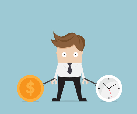 businessman gets chained with clock and money coin, business time concept vector illustration Illustration