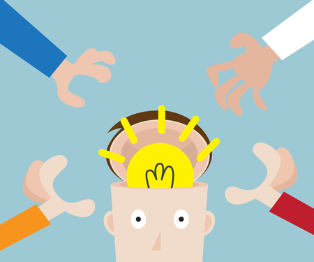 hands pick bulb idea in human head, business concept vector illustration Stock Photo