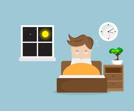 Schlaflose Mann Cartoon-Figur auf Bett in Nacht Vektor-Illustration Standard-Bild