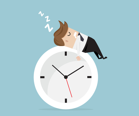 businessman sleeping on clock, business time vector illustration
